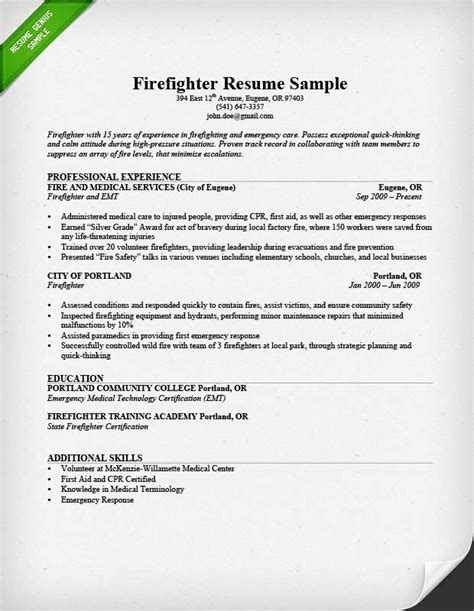 Firefighter Resume Summary by Firefighter Resume Sle Writing Guide Resume Genius