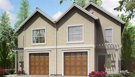 narrow lot duplex house plan lb architectural