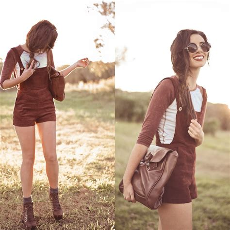 Elle-May Leckenby - Shopgipsypixie Deep Red Corduroy Overalls Dark Brown Button Latch Tote Bag ...