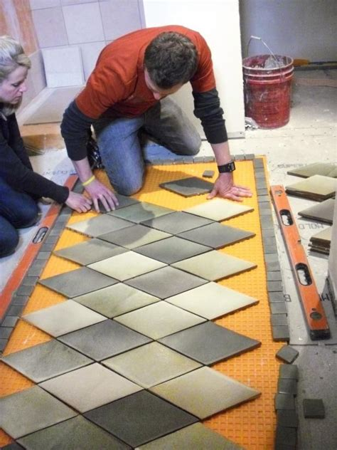 create  inlaid tile rug  tos diy