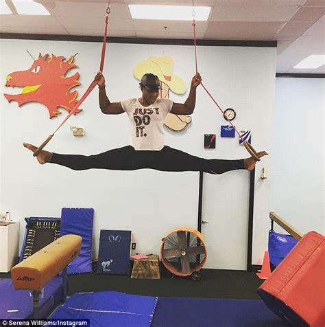 gymnastics mat uk serena williams shows fit figure in mid air splits