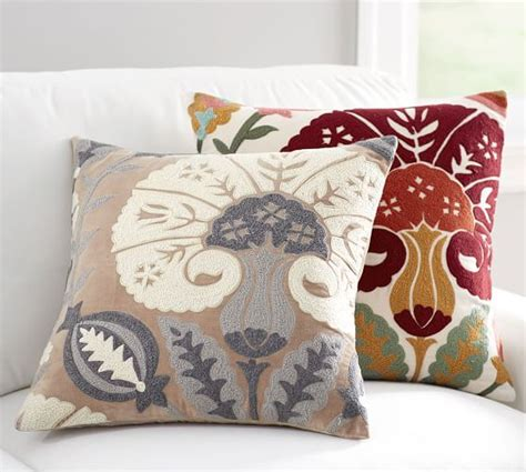 pottery barn large decorative pillows eloise crewel embroidered pillow cover pottery barn