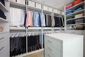 white organized master closet design - Decoist