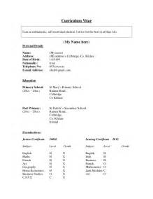 format of curriculum vitae for students student cv exle 187 resume format sles