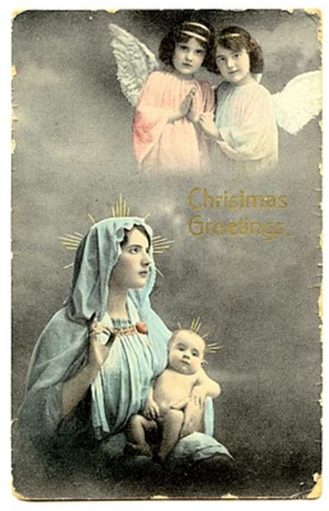 vintage clip art baby jesus  mary angels