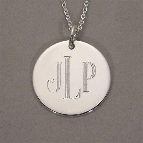 monogram necklace engraved initial pendant  roman block font  gaudybaubles  etsy