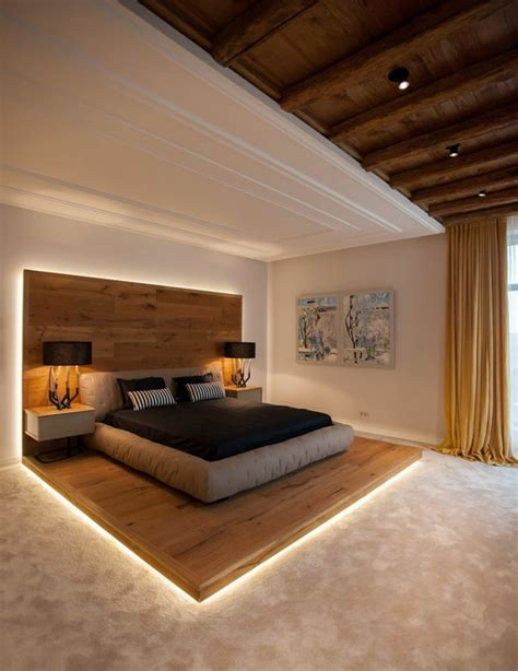 The led lights would add a scintillating aura to your space. plataforma de madera con luces Led integradas   Modern bedroom design, Luxurious bedrooms ...