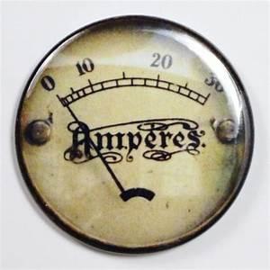 Amperes Steampunk Gauge FRIDGE MAGNET Vintage Style 2 1 4