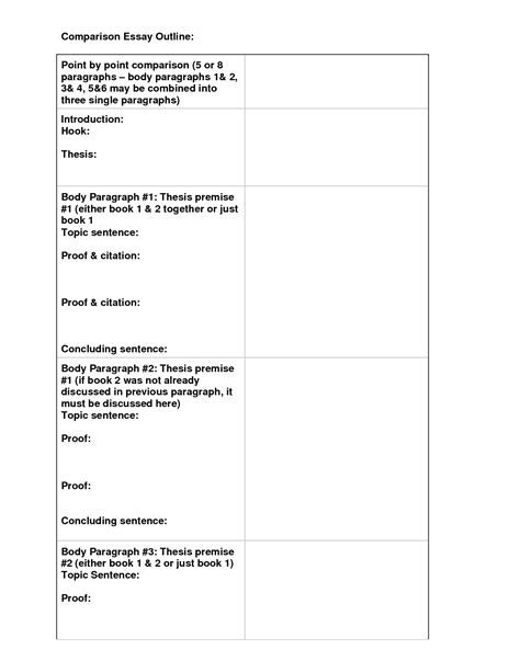 compare and contrast essay outline template 5 best images of act college comparison worksheet comparison and contrast essay outline