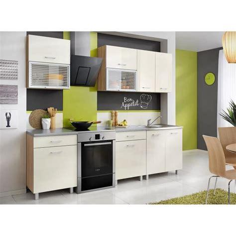 cuisine 2m cuisine complète 2m crème et décor chêne achat