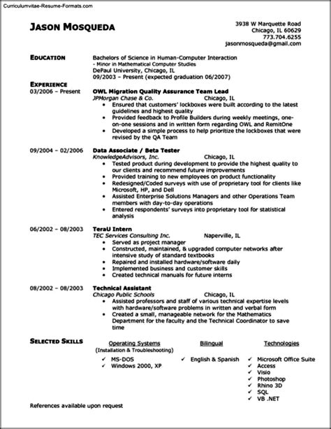 Qa Resume by Qa Resume Template Free Sles Exles Format