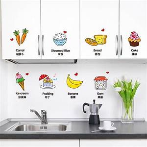 removable kitchen wall stickers vinyl material creative With kitchen cabinets lowes with vinyl wall art nursery