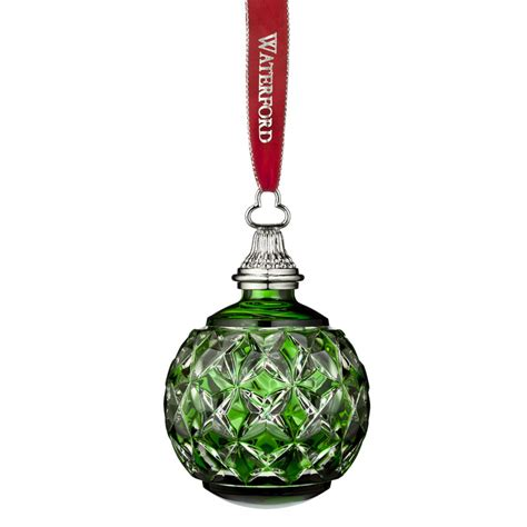 waterford crystal emerald cased christmas ball ornament
