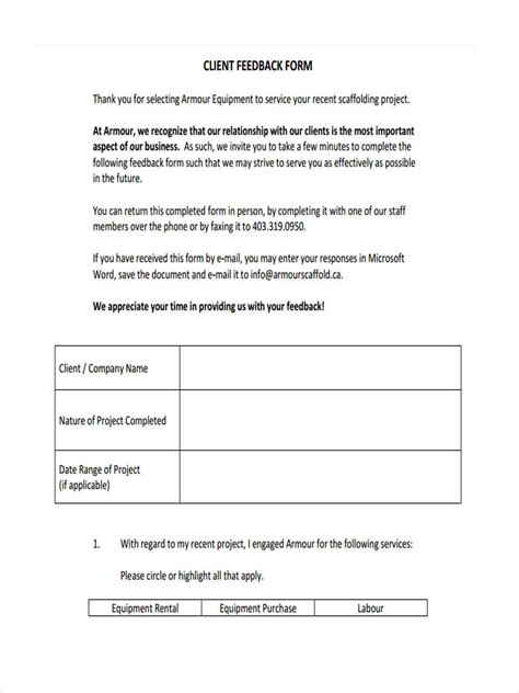 sample project feedback forms  ms word