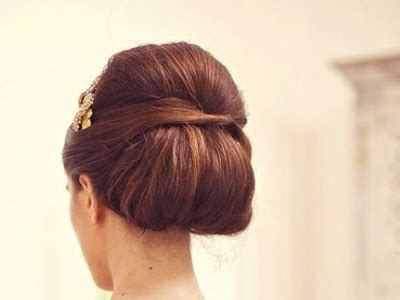 brunette bouffant chignon updo prom wedding party