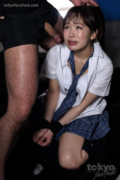 japanese schoolgirl in bondage gagging on cock and getting