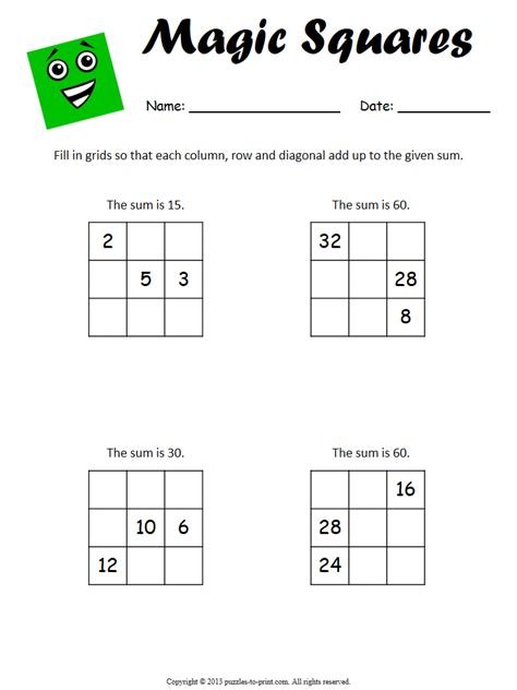 beginner magic square worksheet 1
