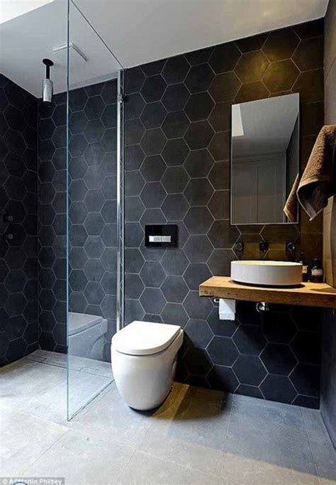 gray hexagon bathroom tile ideas  pictures