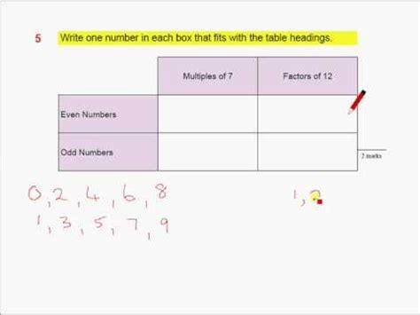 ks2 maths sats revision q5 multiples and factors