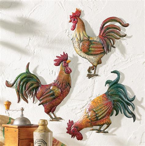 rooster kitchen canister sets country kitchen rooster theme decor set of 3 metal rooster