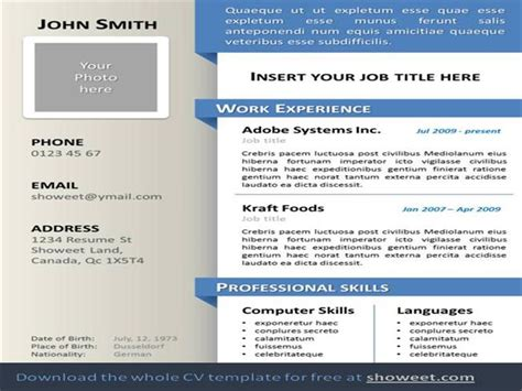 Powerpoint Resume by Curriculum Vitae Resume Powerpoint Template Authorstream