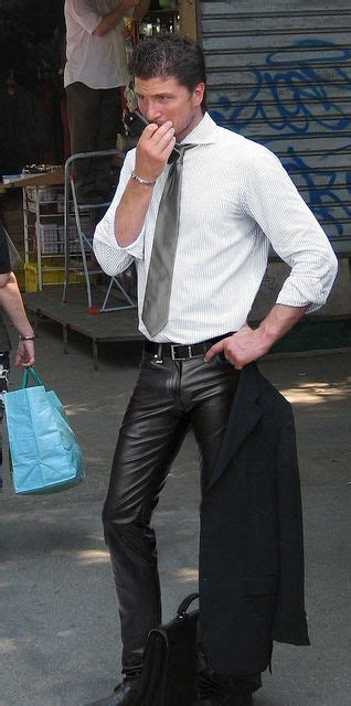 hot business man  leather pants tight leather pants