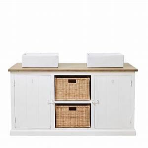 Meuble En Manguier : meuble double vasque en manguier massif blanc maisons du monde ~ Teatrodelosmanantiales.com Idées de Décoration
