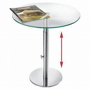 Beistelltisch Glas Edelstahl : ebinger glas beistelltisch edelstahl h henverstellbar von 48 5 65 cm ~ Indierocktalk.com Haus und Dekorationen