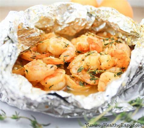 foil packet orange thyme grilled shrimp in foil packets recipe