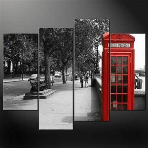 4 panel black white and red phone booth london wall art With london wall art