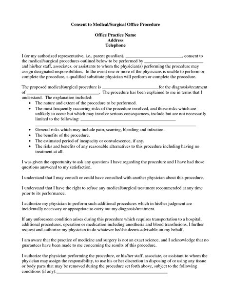 Surgery Consent Form Template by Best Photos Of Procedure Consent Form Template
