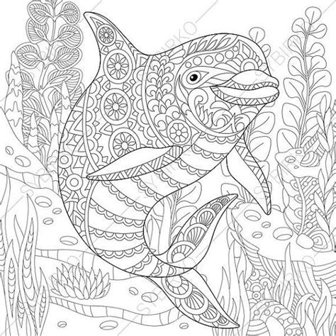 dolphin adult coloring page zentangle by