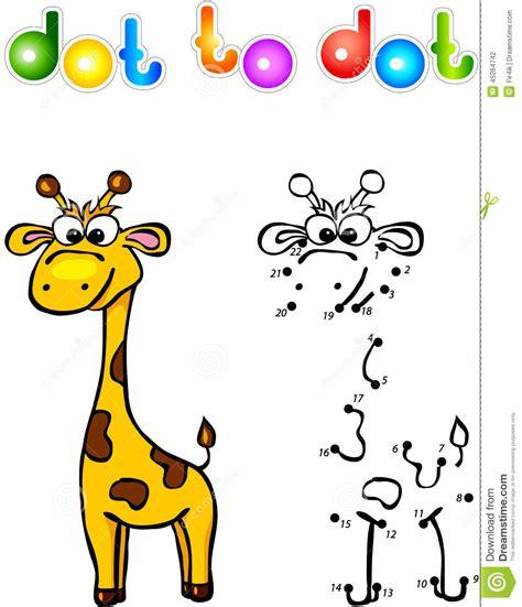 funny cartoon giraffe dot  dot stock vector image