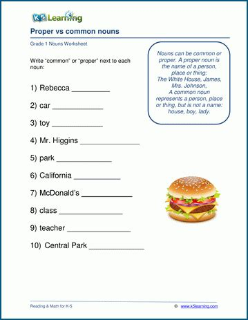 grade  nouns worksheets  learning
