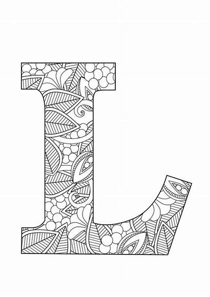 Letter Kleurplaten Floral Coloring Letters Mandala Fancy