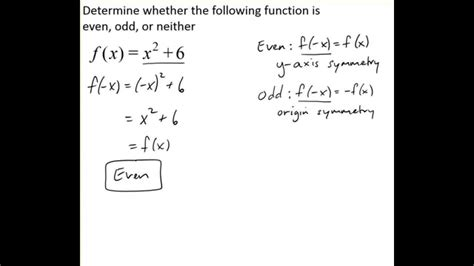 Determine Whether A Function Is Even, Odd, Or Neither