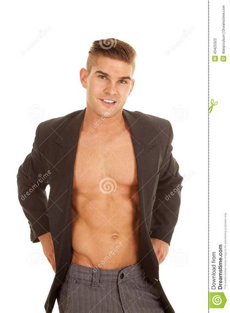 no shirt no blouse slacks no shirt jacket look smile stock image image