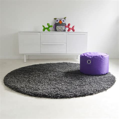 tapis rond softy shaggy gris 216 95 cm tapis rond
