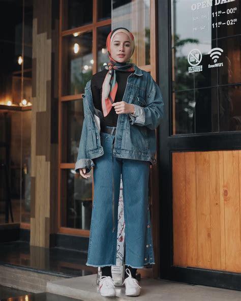 Outfit Baju Remaja Berhijab Ala Selebgram 2018 longpants pallazo cullotes jacket denim biru tua ...