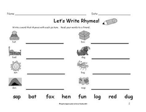 kindergarten first grade rhyming words worksheets write a rhyme 8 pages