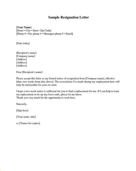 resignation letter samples    format