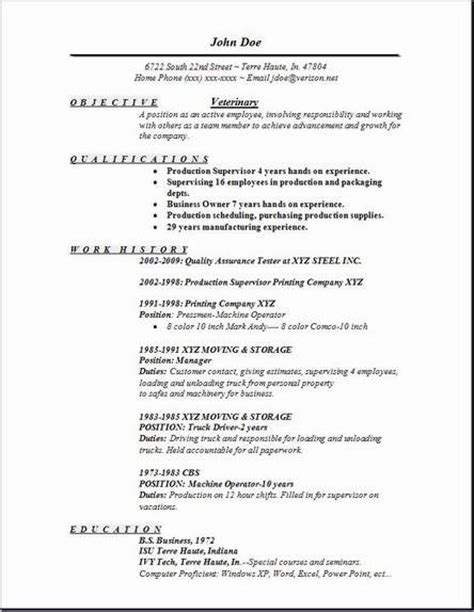 Exles Of Veterinarian Resumes by Veterinary Resume Occupational Exles Sles Free Edit