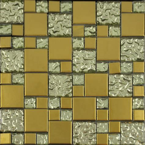 gold porcelain and glass mosaic square tile designs plated