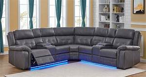 Cobalt Power  Manual Reclining Sectional Sofa With Led