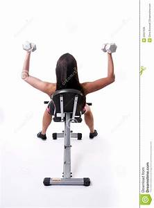 Solo woman on weight bench