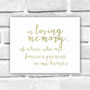Faux Gold Foil In Loving Memory Sign Printable - Gold