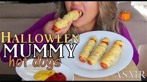 Asmr Halloween Mummy Hot Dogs *eating Sounds* Youtube