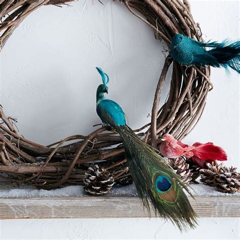 feather bird ornaments eclectic christmas ornaments