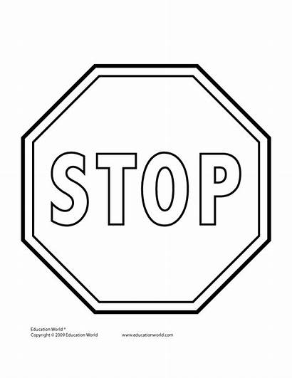 Stop Sign Signs Clipart Template Traffic Coloring