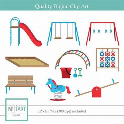 Playground Clipart Clip Playing Vector Digital Swings